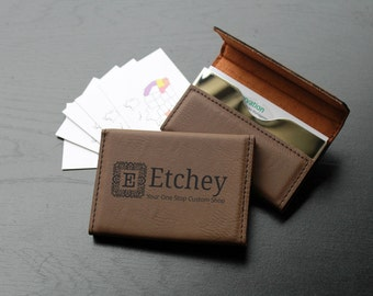 Personalized Business Card Holder, Custom Business Card Holder, Engraved Business Card Holder, Leather Business Card Holder --BCH-LDB-ETCHEY