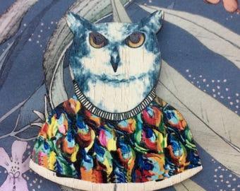 Wooden Owl Brooch