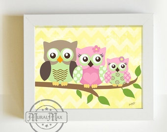 Nursery Print for Baby Girls room,   Owls Nursery Art - 8x10 - pink green