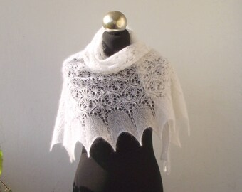 White hand knitted lace small shawlette with beads, white kidsilk shawl