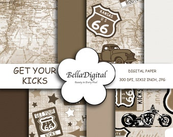 Digital Paper Route 66 Sepia Color Paper Pack. Digital scrapbook background.
