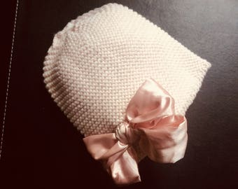 Girls knitted Cotton Bonnet with Silk Bow // Fashionable Beanie // Adorable Bonnet // Pretty Hut with Bow