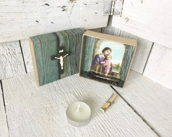 Tiny shrine prayer box Christ crucifix icon blue upcycled embellished/ free shipping US