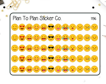1196~~ Emoticon Mood Tracker Planner Stickers.