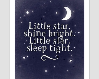 Moon And Stars Print, Sweet Dreams Print, Sleep Tight Poster, Nursery Art, Nursery Prints, Children's Prints, Children's Art, Nursery Decor