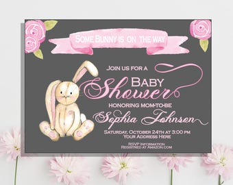 Bunny Baby Shower Invitation Easter Baby Shower Invitation Rabbit Baby Shower Watercolor Floral  Printable Pink Baby Girl Shower invitation