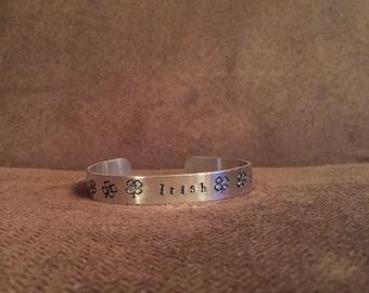 Irish shamrocks - stamped bracelet cuff - Four Leaf Clover