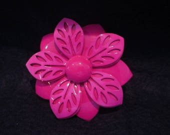 Vintage 1960's Enamel Pink Flower Pin