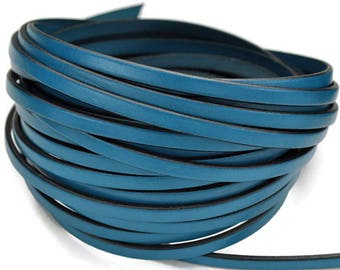 5mm Flat Leather  - Deep Turquoise - 2ft/24 - High Quality Leather Cord
