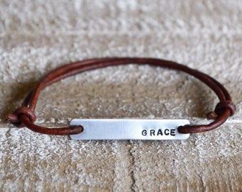 Hand stamped bracelet, leather wrap bracelet, stamped bracelet, leather bracelet, hand stamped jewelry, custom bracelet, personalized