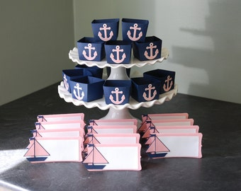 Nautique paquet, bonbons gobelets cartons amarrages voiliers, Baby Shower, marine rose Pastel