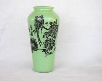 Vintage Green Vase - Parrot Decor - Tropical Bird Decor - Art Deco Vase - Bird Vase - Green Glass Vase - Parrot Lover Gift - Decorative Vase