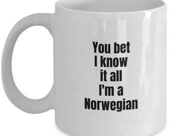 Norwegian Mug - You bet I know it all, I'm a Norwegian - Norway Mug - Funny gift idea - Coffee Mug 11OZ