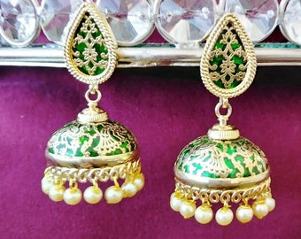 Unique green and gold plated white bead drops Jhumka earrings