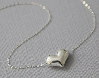 Sterling Silver Heart Necklace, Layering Necklace, Girf tfor Her, Girlfriend Gift, Mom Gift, Gift for Mom, Heart Necklace, Wedding NEcklace