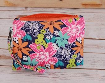 Tropical flower zipper pouch / orange