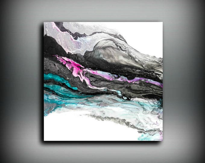 Black Art Print, Large Abstract Art Black and White Painting Modern Wall Art Print Painting Modern, Pink Art Colorful Painting LDawningScott