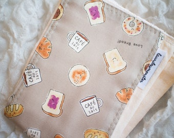 baby burp cloth - Ivory kawaii breakfast hand dyed baby burp cloth