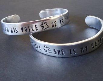 Autism cuff bracelet, autism awareness and acceptance, disability awareness