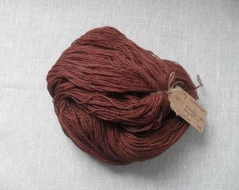 Pure 100% wool hazelnut brown knitting yarn/ rustic wool 100 g hank