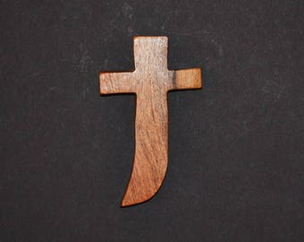 "Wood Wall Cross; Hand Held-3""x5""x1"";One Only; Handcrafted Wood Cross; Texas Mesquite Wood; Christian Gift; Free Ground Shipping; cc5-3112917"