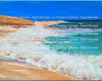 "Digital file for download from my original artwork ""Sal Beach"" (3JPG)"