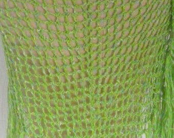 Green shawl with fringe for cool evenings