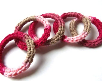 Cat and Ferret Toys, Recycled Rings Toy, Rose Red Pink Tan, Gift for Cats and Ferrets, Valentine's Day