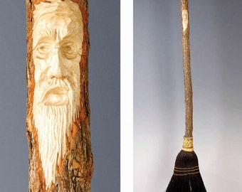 Hand Carved Kitchen Broom Sweeper in your choice of Natural, Black, Rust or Mixed Broomcorn, with Tree Spirit Wizard Carving - Wedding Gift