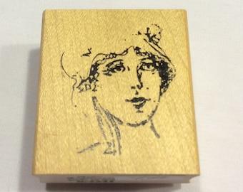 Woman's Portrait  Rubber Stamp