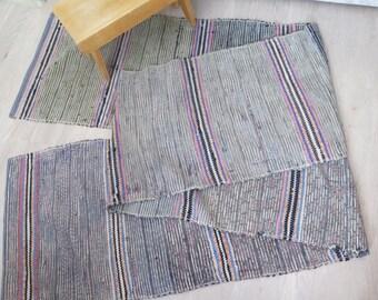 Vintage Extra Long Handwoven Floor Runner, 174,8 x 22,8 inch, Cotton Woven Gray Black Blue Striped Rug Rag Scandinavian Home Interior #3-23