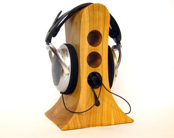 Stand for headphones from wood cherry, original design