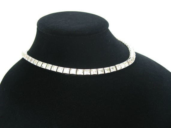 Geometric Art Deco Rhinestone Sterling Silver Necklace by Dorsons 1940s