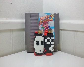 Snifit Perler Bead LIGHTER CASE - nintendo - shy guy - mario 2 - luigi - toad - item block - mushroom