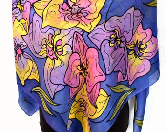 "Hand Painted Silk Scarf, Floral, Orchids Silk Scarf, Purple Pink Yellow Indigo, 35"" Square Silk Scarf"
