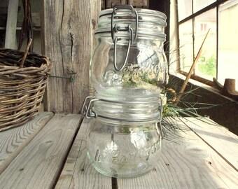 Vintage Canisters - Set of 2 - Glass Canning Jar - Vintage Mason Jar - Le Pratique - Glass Kitchen Storage - 0,5 L - French Kitchen