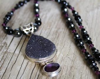 Faceted Amethyst Black Druzy Gemstone Pendant Necklace / Onyx Hematite Swarovski Crystals / Purple Black Grey / Gifts For Her / Chunky