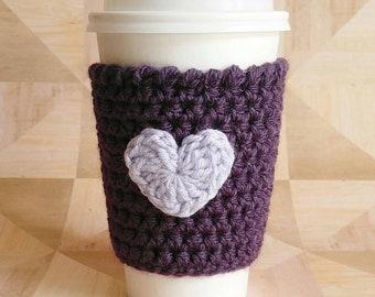 Purple Coffee Sleeve, Coffee Cozy,  Coffee Cup Sleeve, Tea Cozy, Heart Cozy, Gift For Mom, Co-Worker Gift