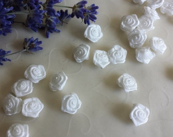 New Item -- 30 Pieces of Hand Made Ribbon Roses in WHITE Color -- 12 - 10 mm