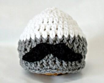 Newborn Hat - Baby Hats - Mustache hat - Baby Beanie - Newborn photo prop- Baby MUSTACHE beanie