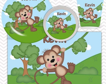 Monkey Plate, Bowl, Cup, Placemat - Personalized Zoo Dinnerware for Kids - Custom Tableware