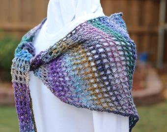 Crocheted Wrap, Purple Crochet Shawl, Blue and Purple Scarves, Women's Crocheted Scarves, Variegated Blue and Purple Crocheted Wrap