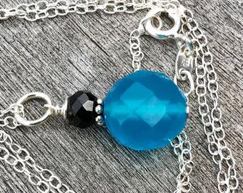 Minimalist Gemstone Drop - Oxidized Sterling Silver with Blue Chalcedony and Black Onyx Gemstone Pendant, Sky Blue Necklace, Blue Onyx Drop