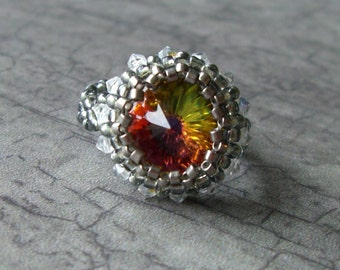 Beaded RIVOLI RING