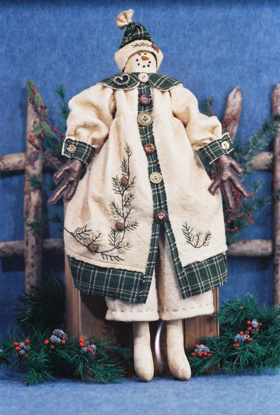Crystal - Mailed Cloth Doll Pattern- 25in Christmas Snowgirl Doll
