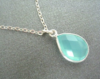 Aqua Necklace, Aqua Chalcedony Necklace, Aqua Faceted Teardrop Sterling Chain, Bridesmaids Jewlery