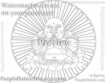 Happy Buddha Printable Coloring Page Smiling in a Lotus Flower Tattoo Style Art Line Drawing Adult Digital Color Sheet JPEG Instant Download