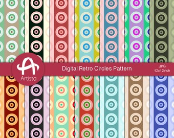 RetroCircles Digital Paper Patterns Download Digi Printable Paper Downloads