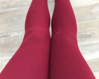"""Leggings for women, ultra comfortable in """"brushed poly"""" burgundy polyester/spandex"""