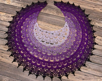 Wheel of Time Crochet Shawl - Great Gift - Ladies Shawl - Woman's Fashion - Lace Wrap - Wedding Shawl - Fantasy Cosplay - Purple Wrap